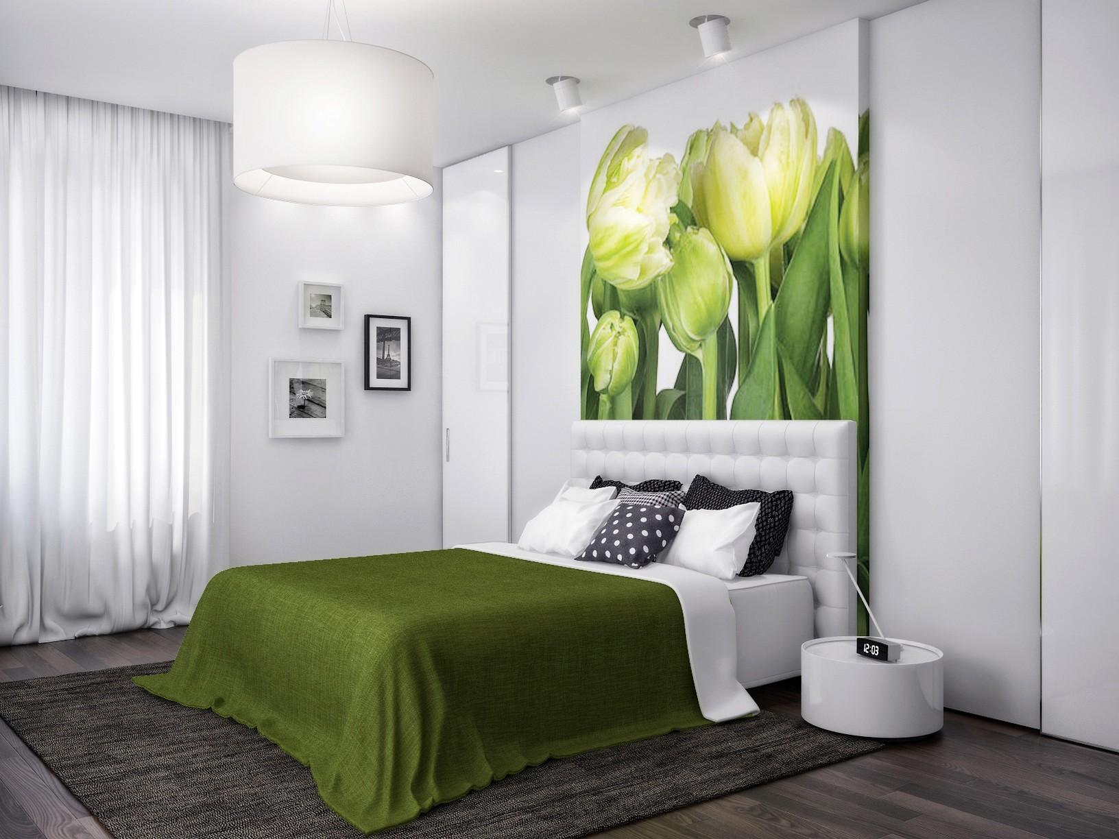 Спальня в бело зеленом цвете фото